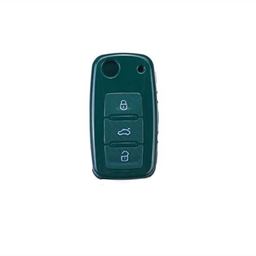 YONGYAO Cubierta de Llave de Coche Silicona TPU Protectora Caso con Hebilla Cinturón Adecuada para Volkswagen/Golf/Jetta/Skoda - Verde