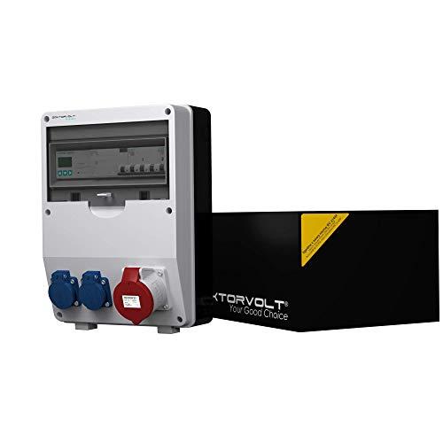 Distribuidor de corriente 32A 2x230V PTD-S / Fi Con Mennekes Botes Medidor Corriente Mid 80A Centro de Distribución de Energía Portátil Pared Doktorvolt 4807