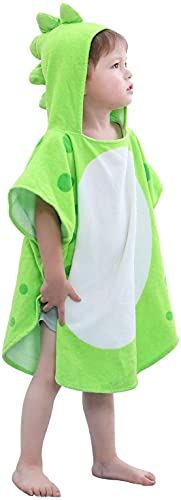LOLANTA Bambino Asciugamano Poncho con Cappuccio Dinosauri, Telo Mare Dinosauro, 100% Cotone
