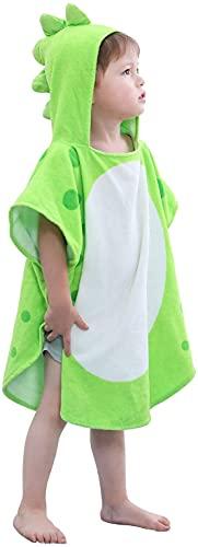LOLANTA Toalla de Baño con Capucha de Dinosaurio para Niños, Poncho Encapuchados de niño y niña,100% Algodón Secado Rápido(B-Verde,2-4 Años,Tamaño de la Etiqueta S