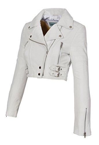 A1 FASHION GOODS Weiß Echtes Leder Damen Bikerjacke Kurz Beschnitten Ausgestattet Sexy Bolero Bustier Mantel - Amanda (S - EU 36)