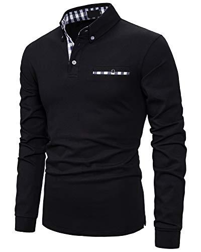 IVAN-LI Herren Klassische Plaid Baumwolle Poloshirt Langarm Basic Polohemd Polo Schwarz M