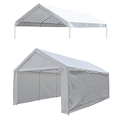 Abba Patio 12 x 20-Feet Carport Replacement Top Canopy Cover for Garage Shelter with Fabric Pole Skirts and Ball Bungees, White (Frame Not Included)