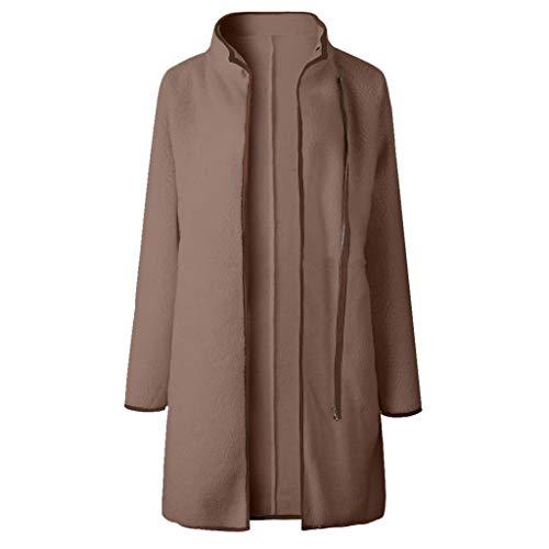 Blusen Damen Langarm Solide Samt Zipper Tasche Dicker Outwear Lang Jacke Mantel