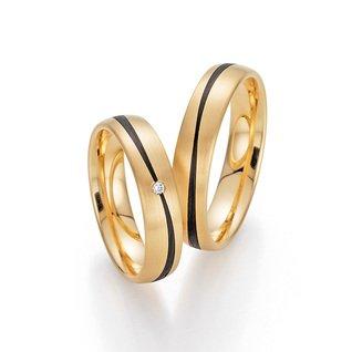 Trauringe Gold mit Carbon Fischer 22/23-01310/050