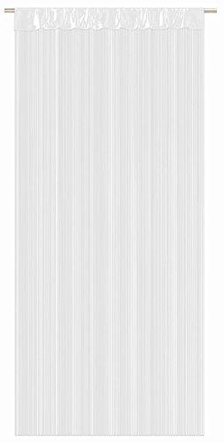 Rideau de fils de haute qualité 90 x 245 cm, 6 couleurs au choix, peut être raccourci, Tissu, Blanc
