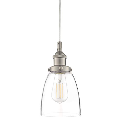 Fiorentino Brushed Nickel Pendant Light – w/ Clear Glass...
