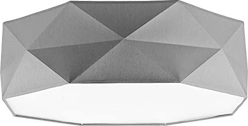 Lámpara de techo gris atemporal, discreta, diámetro de 52 cm, 4 focos, lámpara de salón