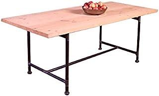 CosyWood Table de salle à manger en métal avec pieds en tuyaux de style industriel – Acier argenté – Beige