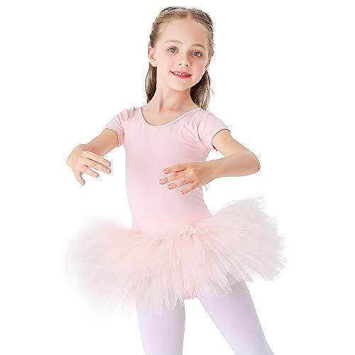 Kinder Ballettkleidung Tütü Ballettkleid Mädchen Baumwolle Balletttrikot Kurzarm Ballettanzug Tanzbody mit Rock Rosa 120