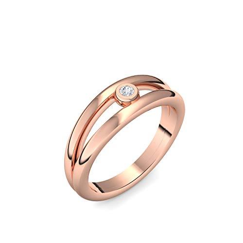 Rotgold Ring Verlobungsringe Rotgold (Silber 925 vergoldet) von AMOONIC mit Zirkonia Stein + LUXUSETUI! Rotgoldring Ring Zirkonia wie Diamant Geschenk Ringe Verlobung AM141VGRTZIFA50