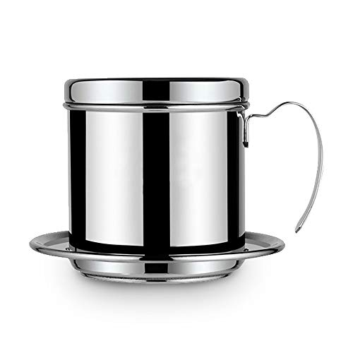 HelloCreate filtro de cafetera vietnamita, cafetera olla taza de acero inoxidable fabricante de filtro de goteo de café infusor de phin cafetera de goteo para oficina, hogar, restaurante, cafetería