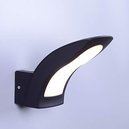 KAYIMAN Aplique LED 15W Luz Exterior Pared Interior Curvo Aluminio Negro Moderno arriba y abajo Apliques IP54 impermeable [Clase energética A +]