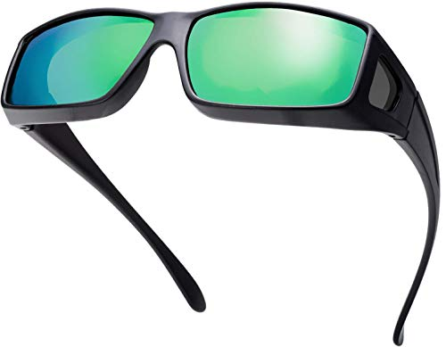 The Fresh High Definition Polarized Wrap Around Shield Sunglasses for Prescription Glasses - Gift Box Package (707-Matte Black, GReen Mirror(Grey side lens))
