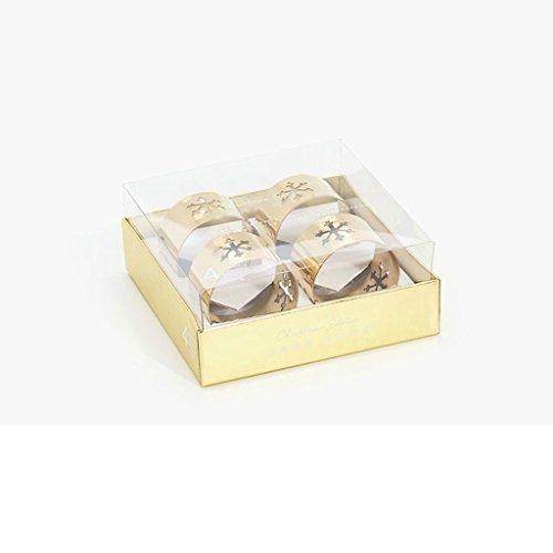 MXJ61 Motif de flocons de neige Serviette de serviette dorée Boucle de serviette 4 pièces / ensemble