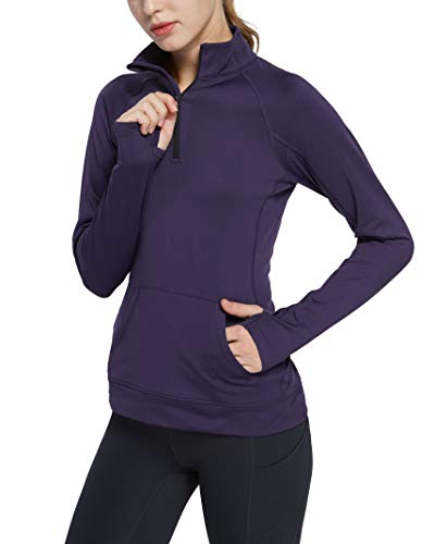 Cityoung Women's Yoga Long Sleeves Half Zip Sweatshirt Girl Athletic Workout Running Jacket