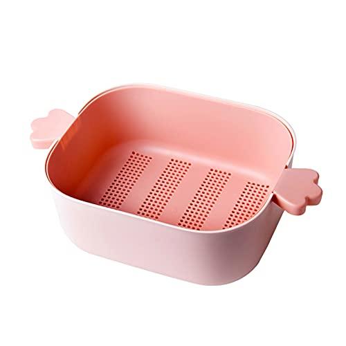 Colador/Tazón de Fuente de Filtro con Mango 2 en 1 Cesta de Drenaje de plástico de Doble Capa Placa de Fruta para remojar el Drenaje y la Cesta de arroz de Lavado (Color : Pink)