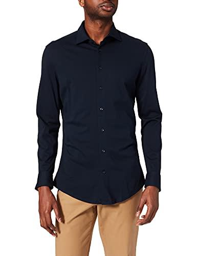 Seidensticker Herren Slim Langarm Jersey Hemd, Blau (Blau 19), (Herstellergröße: 42)