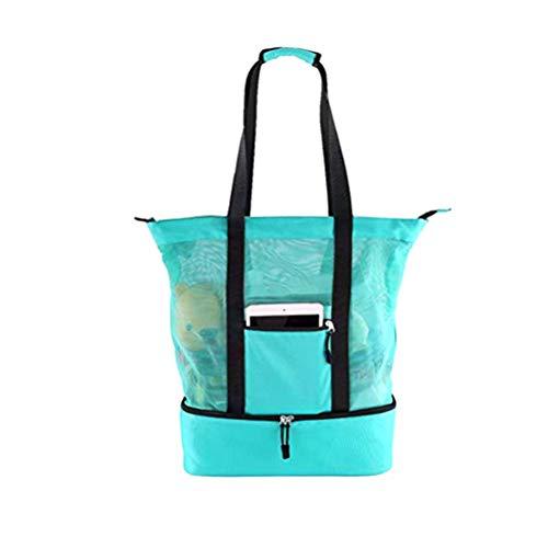 Kylewo Mesh Beach Bag Cooler Strandtas met lekvrije starrkoeler, strandtassen voor dames en heren