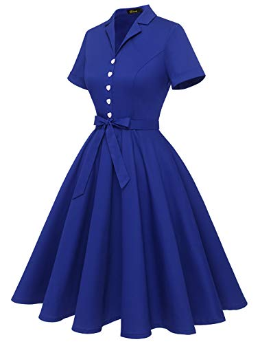 Wedtrend Women's 1940s Vintage Tea Dress Prom Swing Cocktail Party Dress with Short Sleeves WTP10009RoyalBlueXL