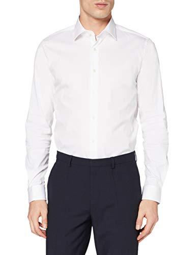 Strellson Premium Herren 11 Santos 10003737 Businesshemd, Weiß (White 100), Kragenweite: 41 cm