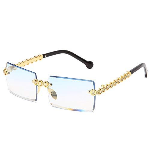 Moda sin montura Diamante Gafas de sol Diseño de las Mujeres Pequeño Cuadrado Metal Gafas de Sol Sombras de Lujo Gafas Gafas De Sol
