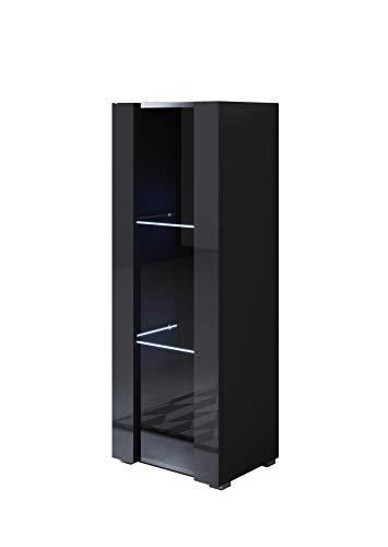 muebles bonitos Vitrina Modelo Luke V2 (40x128cm) Color Negro con Patas estándar