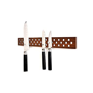 Magnetic Wooden Knife Bar Holder Strip, Cherry or Walnut, 12, 16, 20, or 24 Inch (16 Inch, Walnut)