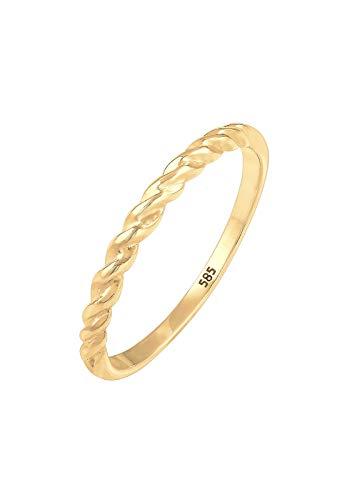 Elli PREMIUM Ring Damen Bandring Basic Geo Twisted Gedreht in 585 Gelbgold