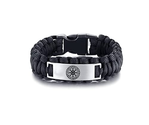 Viking Bracelet for Men - Stainless Steel Outdoor Survival Paracord Nordic Vikings Celtic Helm of Awe Warrior Runic Amulet Bangle Punk Norse Pegan Talisman Wristband Jewelry for Man, 9 Inch, Black