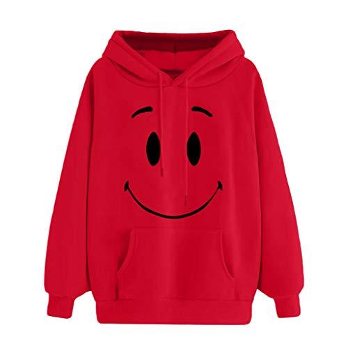 Kulywon Women Autumn Emoticon Print Pocket Hooded Long Sleeve Sweatshirt Tops Blouse