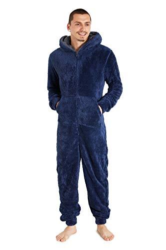 CityComfort Pijama Hombre Entero de Una Pieza, Pijama Hombre Invierno de Forro Polar, Pijama Mono con Capucha, Regalos para Hombre y Adolescentes Talla M-XL (M, Azul)