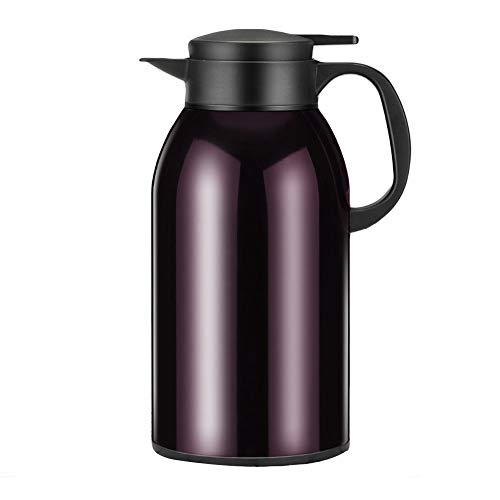 Thermoskan koffiepot roestvrij staal vacuüm isolatie vacuümkan thermosfles hoge capaciteit levensmiddelkwaliteit antislip bodem fles voor keuken, kantoor cadeau 2.5L lila