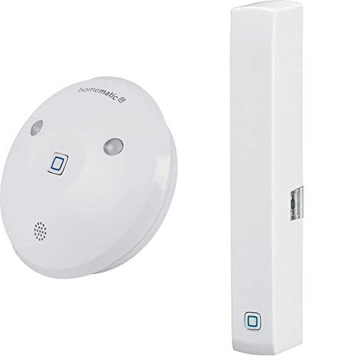 Homematic IP Smart Home Alarmsirene, akustische und optische Signalisierung, 142801A0 & Smart Home Fenster- und Türkontakt, optisch – Smarte Überwachung der Fenster, 140733A0