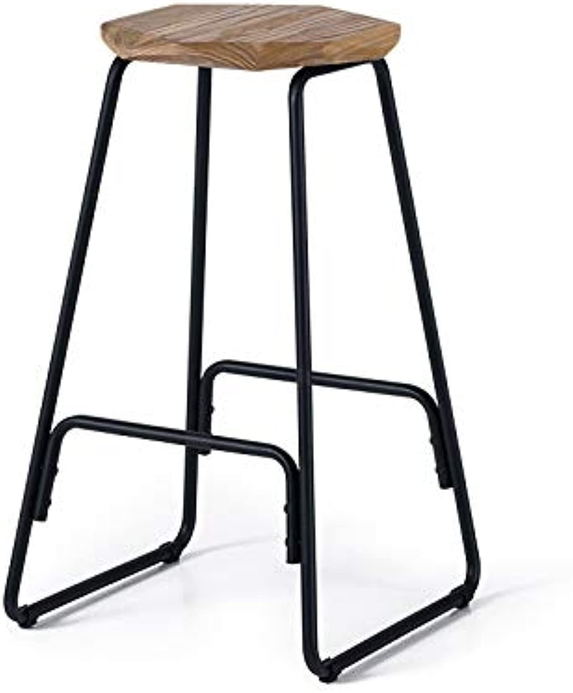 Qing MEI European Retro Creative Modern bar Stool high Stool Solid Wood Wrought Iron White Leg high 66.5CM A+ (color   C)