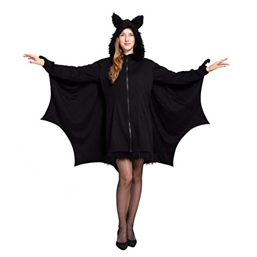 Spooktacular Creations Woman's Black Bat Zip Hoodie Halloween Costumes for Adults (Large)