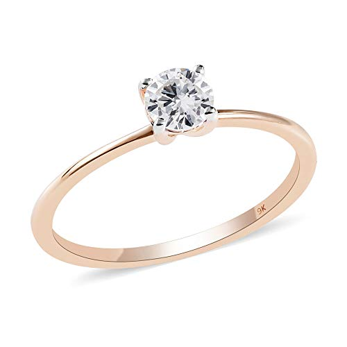 TJC White Diamond I3/G-H Solitaire Ring for Women Valentine's Day Gift/Engagement Jewellery in 9ct Yellow Gold SGL Certified Size P, TCW 0.51ct.