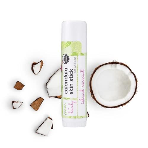 Calendula Skin Stick, Island Coconut. Moisture Stick. Organic Lotion Bar. Moisturizing Ointment Salve. Multipurpose Skin Cream - 0.5 oz. (1 tube set)