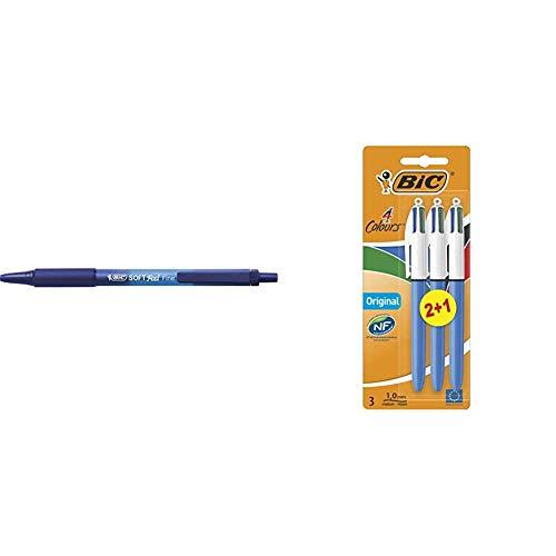BIC Soft Feel - Caja de 12 unidades, bolígrafos retráctiles Grip punta media (1,0 mm), color azul + 4 Original Bolígrafos Retráctiles Punta Media (1,0 mm) - Surtidos, Blíster de 2+1