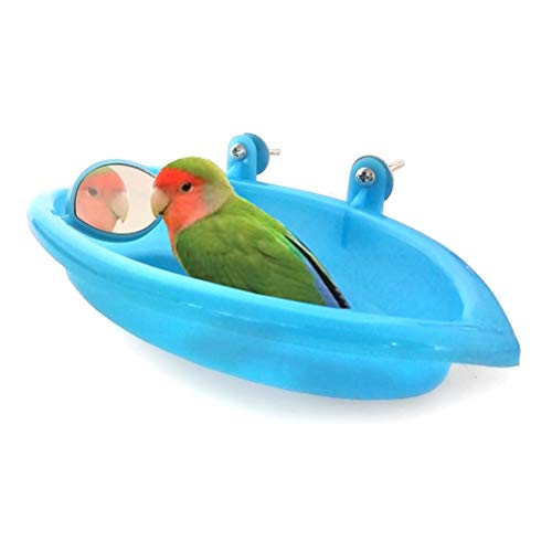Bettli Bird Baths Tub Bird Cage Hanging Bath Shower Box with Mirror for Budgie Conure Parakeet Cockatiel Finch Canary Parrot Lovebird