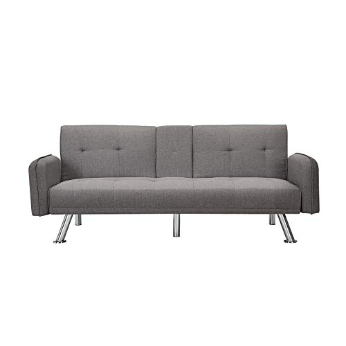 Futon Sofa Bed, Convertible Loveseat for Compact Living Space, Apartment, Dorm, Metal Legs, 2 Cupholders,Grey (Grey)