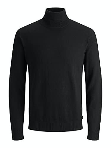 Jack & Jones Jjeemil Knit Roll Neck Noos Camiseta Cuello Alto, Negro (Black Black), Large para Hombre