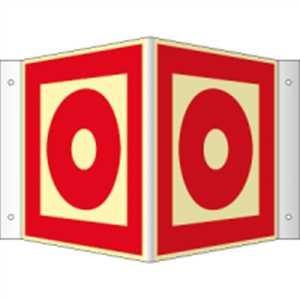 Winkelschild Brandmelder manuell HIGHLIGHT PVC 14,8 x 14,8cm mit 4 Bohrungen à 3 mm Ø Leuchtdichte: HIGHLIGHT 48 mcd/m²