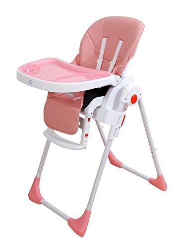 Trona para bebé regulable, doble bandeja, modelo Ecopiel rosa