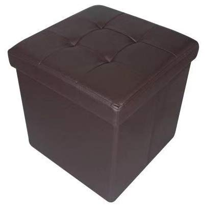 HomeHarmony Quilted Top Folding Storage Ottoman Seat, Stool, Toy Storage Box Faux Leather (Brown, Medium)