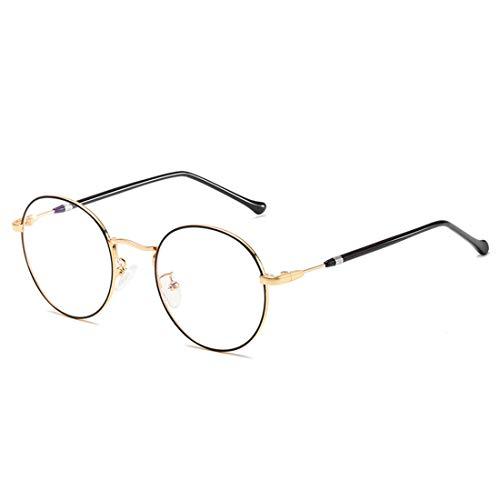 MIGOO Klassische Rund Rahmen Brille Ohne Stärke Nerdbrille Metall Rahmen Retro Brillenfassungen mit Nasenpad,Herren/Damen