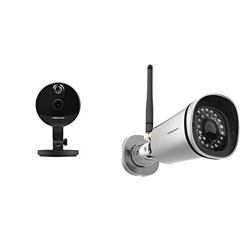 Foscam C1 V3 (Versione 3.0) Telecamera IP Wi-Fi HD 720p (1.0 Megapixel), Visione notturna, Motion Detection con Sensore PIR & FI9800P Telecamera, HD 1.0 MP, H.264, 720p, Esterno, Visore Notturna