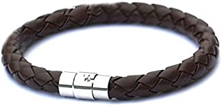 Brown PU Leather Stainless Steel Magnetic Braided Wrist Bracelet