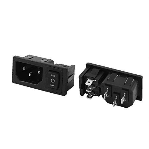 X-DREE Enchufe de alimentación de entrada IEC320 C14 de 2 pcs, 3 pines, CA 10A 250V(2 Pcs 3 Pin Rocker Switch IEC320 C14 Inlet Power Socket AC 10A 250V