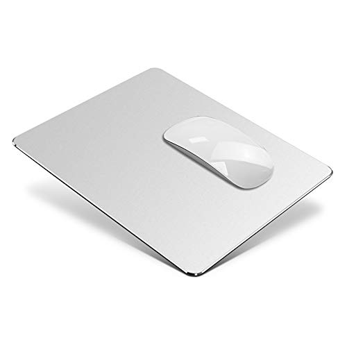 VAYDEER Hard Silver Metal Aluminium Mouse Pad Mat Smooth Magic Ultra Thin Double Side Mouse Mat Waterproof Fast and Accurate Control for Gaming and Office(Small 9.05X7.08 Inch)